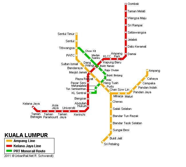 карта метро куала лумпура