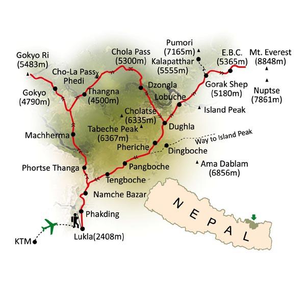 Mapa Trekking en Nepal