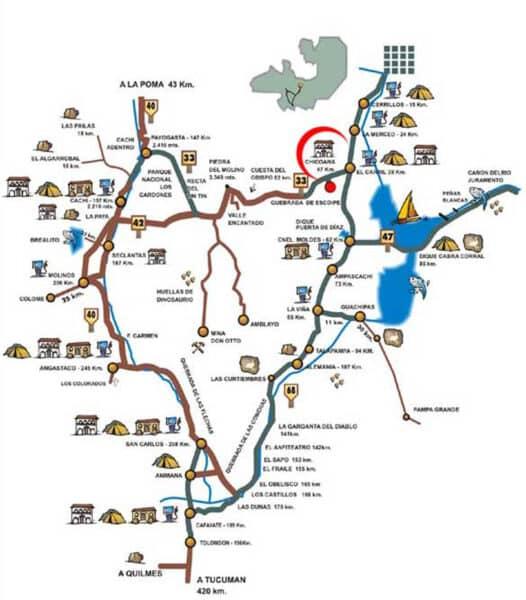 Mapa Valles Calcahquíes. Noroeste andino, lo mejor de Argentina