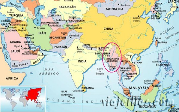 Dónde esta Myanmar