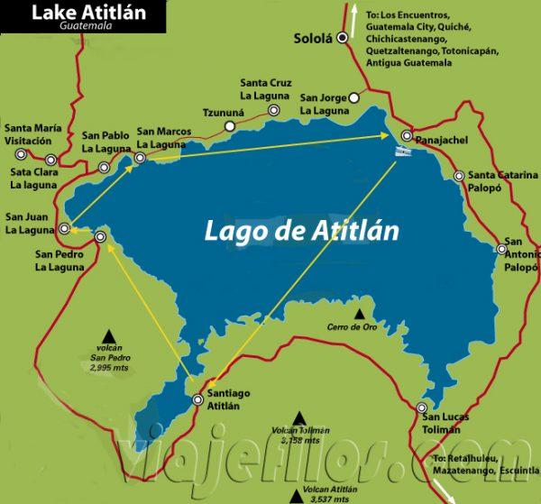 Mapa y recorrido por el lago Atitlán