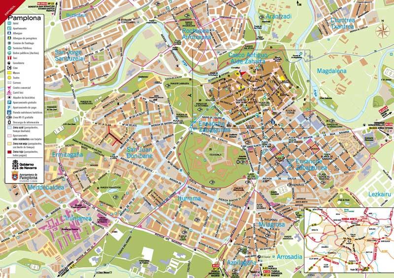 Mapa de turismo de Pamplona