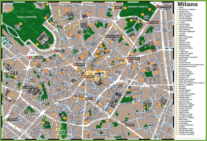 Mapa de Milan, que ver en Milan aún viajando con niños