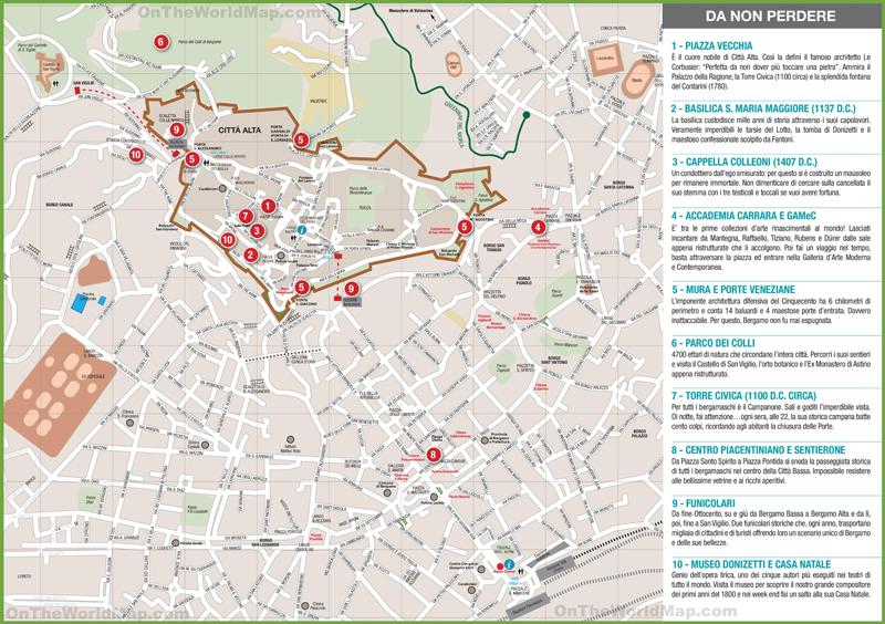 Mapa de Bergamo, que visitar con las niñas en Bergamo
