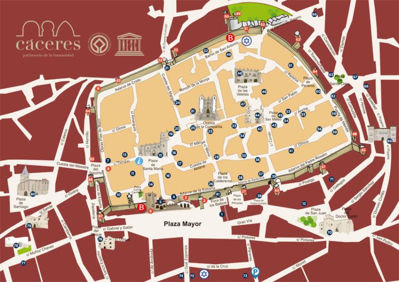 Mapa de turismo de Cáceres