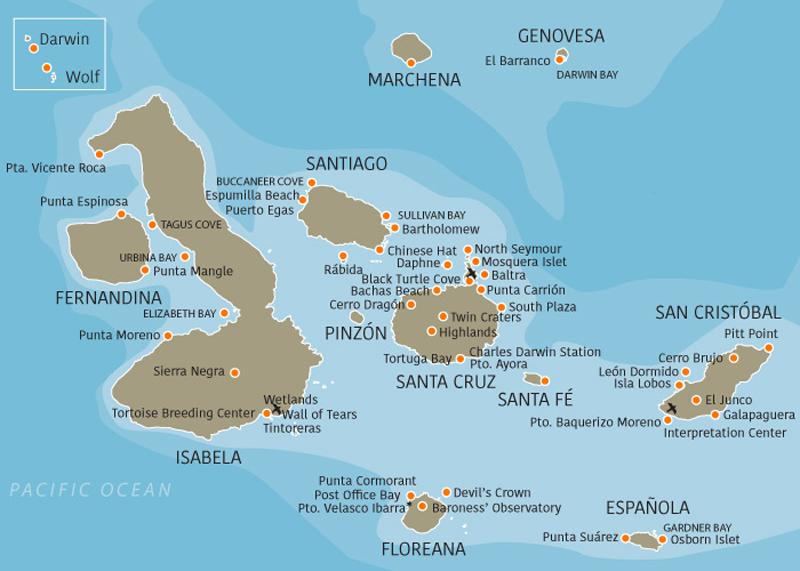 Mapa de las islas Galápagos y nuestra ruta de crucero de último minuto