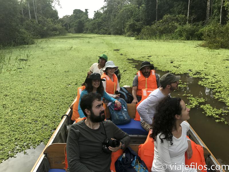 Navegando por la selva del Amazona de Perú cerca de Iquitos