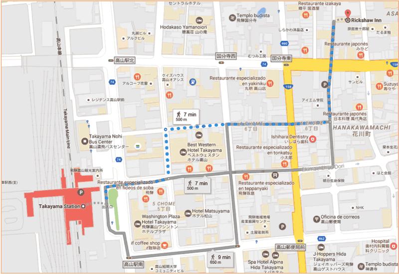 Camino al Rickshaw Inn de Takayama desde la estación de tren, de nuestro viaje por libre a Japon
