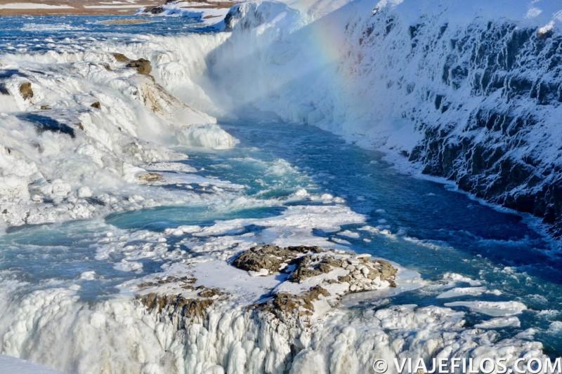 Catarata de Gullfoss, una de las escalas de un viaje de una semana a Islandia