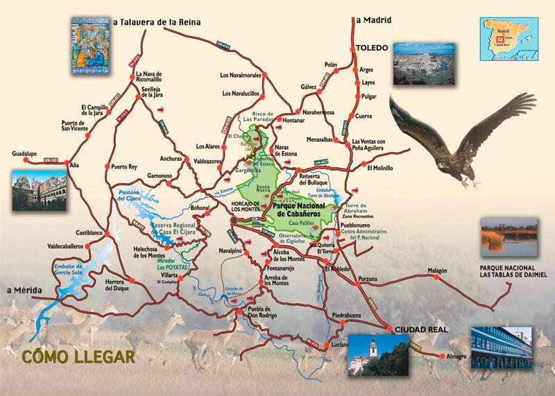 Mapa rutas Cabañeros