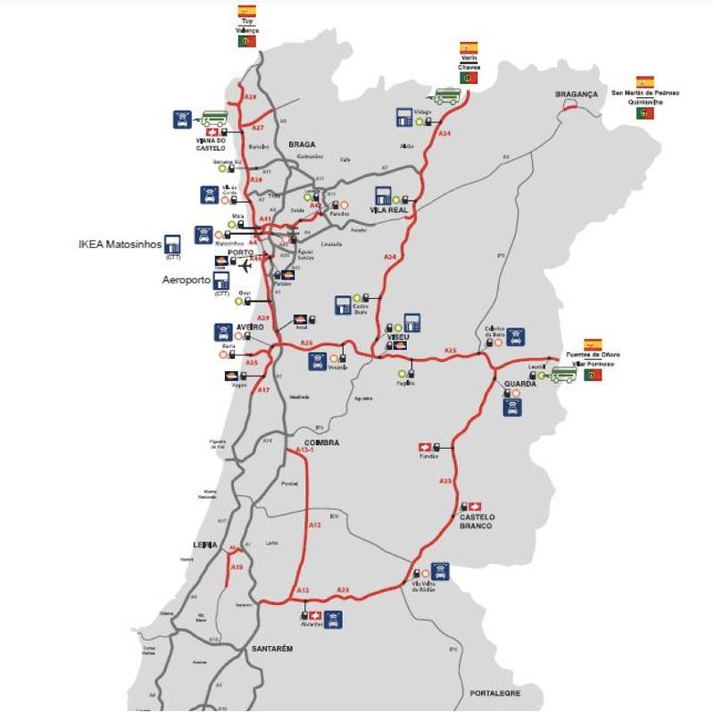 Mapa de carreteras para llegar a Oporto