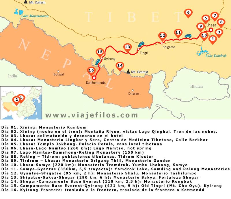 Recorrido de 16 días a través del Tíbet, la distancia entre Lhasa y Katmandú