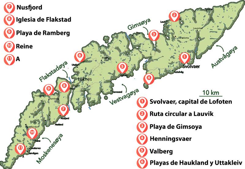 La ruta de viaje de una semana en Lofoten en coche de alquiler