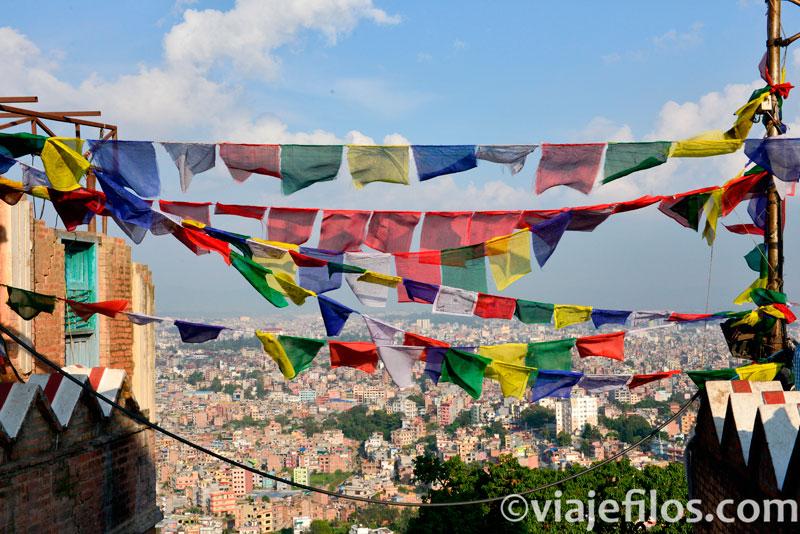 Las vistas de Kathmandú desde la Estupa de Swayambhunath