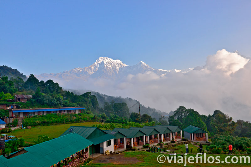 vistas de los Annapurnas desde el Campamento Australiano