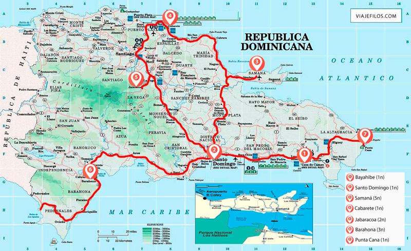 Recorrido y escalas de dos semanas en República Dominicana