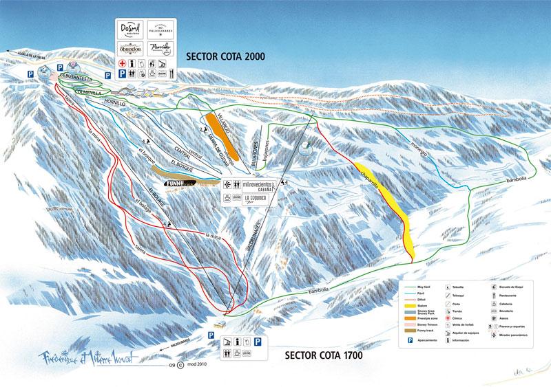 Plano de pistas de la estación de esquí de Valdelinares
