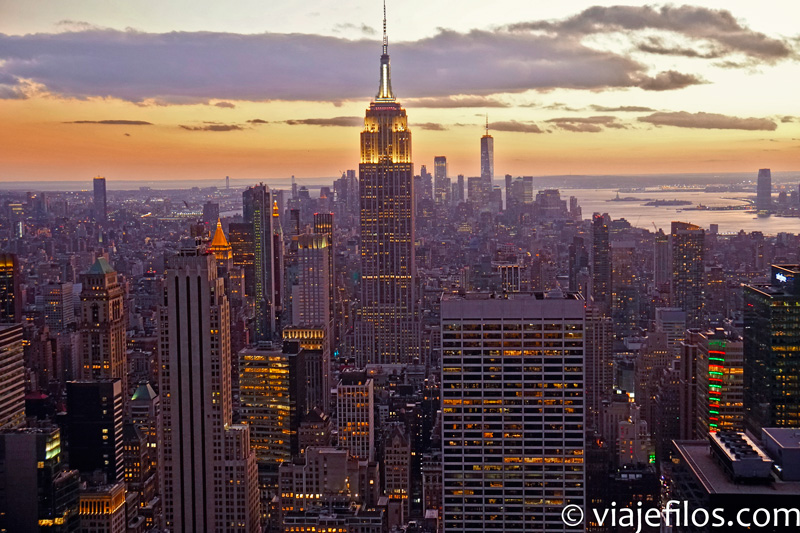 Las vistas al atardecer desde Top of the Rock en Nueva York