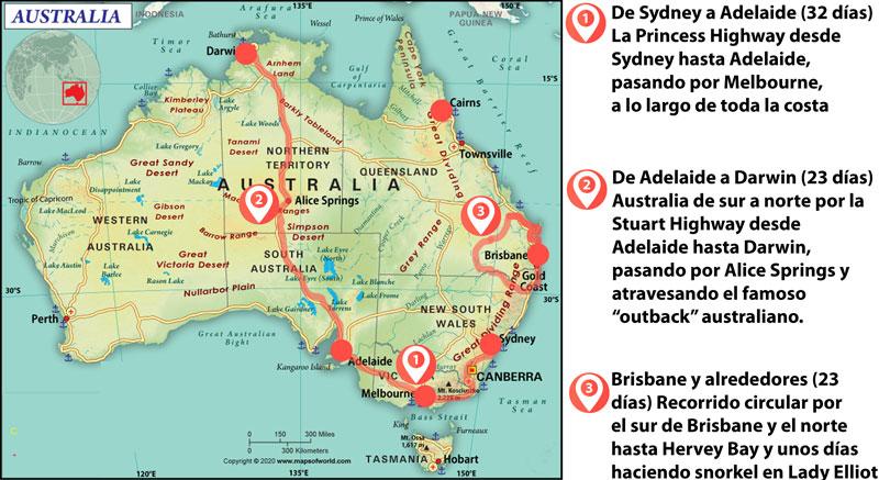 Australia con niños. Ruta