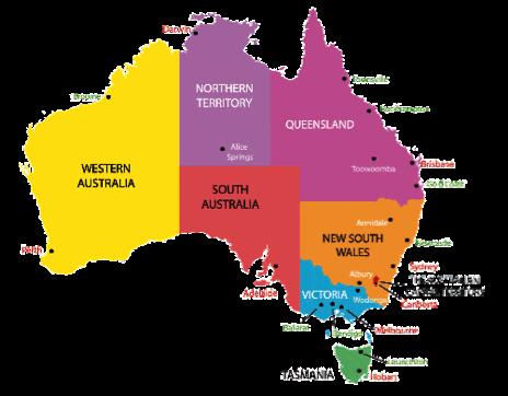 Mapa con las regiones de Australia