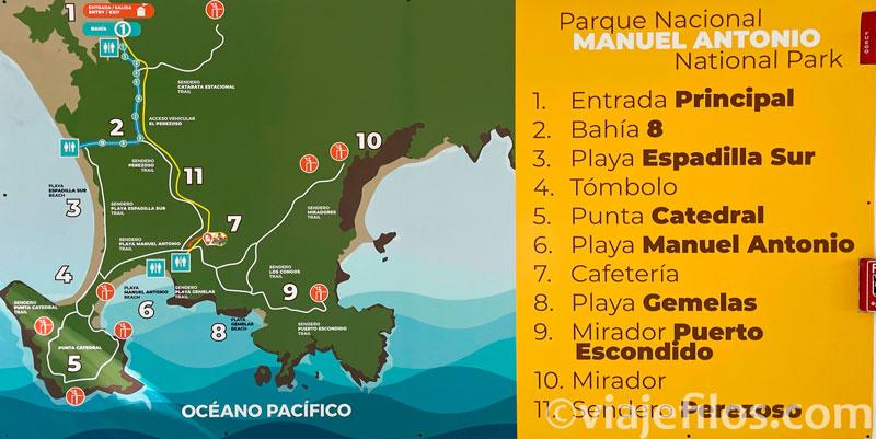 Mapa de senderos y playas del PN de Manuel Antonio