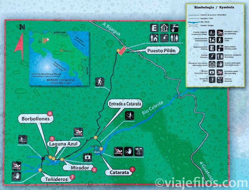 Mapa de senderos y puntos de interés del Río Celeste
