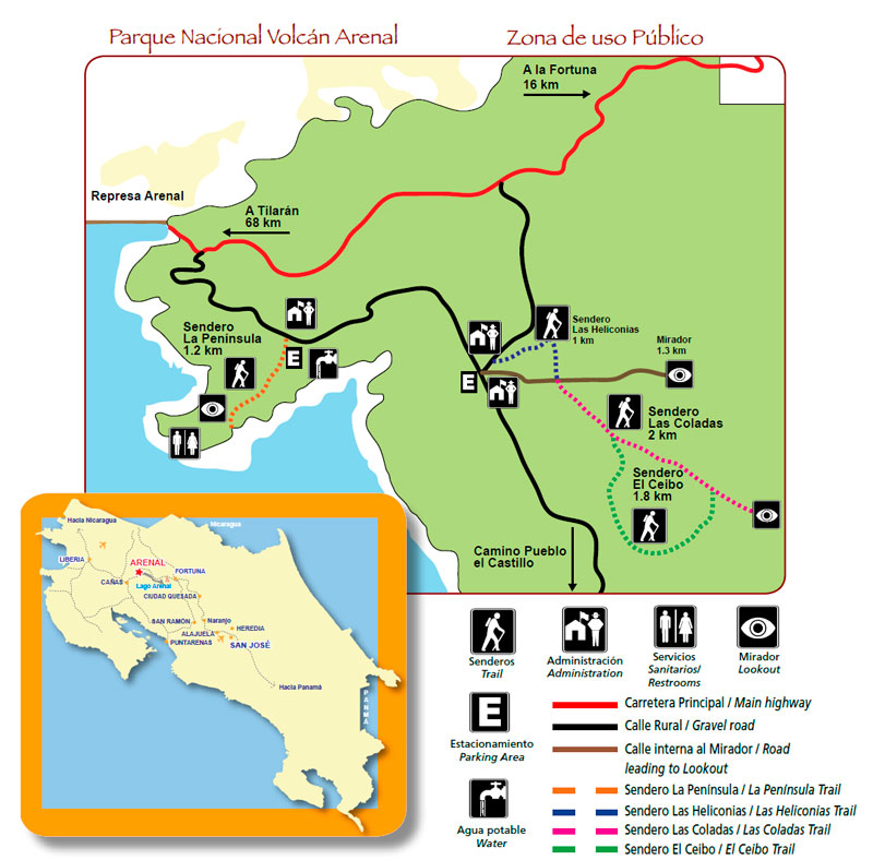 Mapa de senderos del volcán Arenal