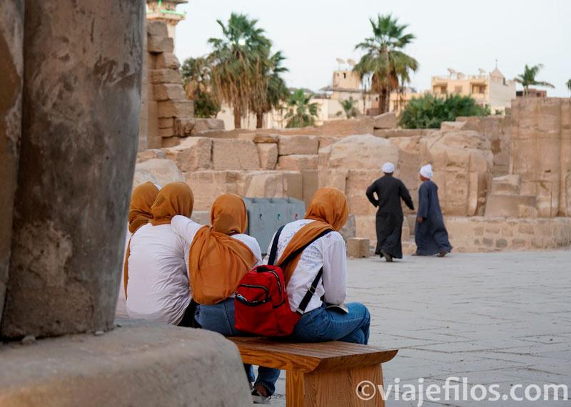 El ambiente del Templo de Luxor en Egipto en pandemia