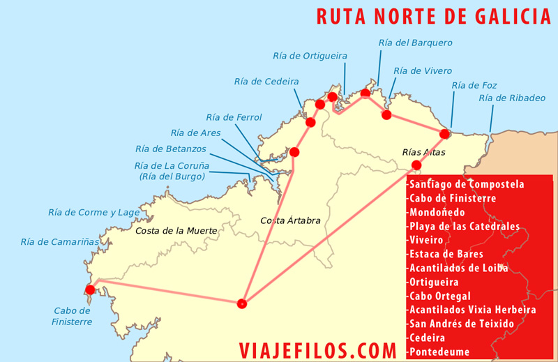 Mapa de la ruta por el Norte de Galicia