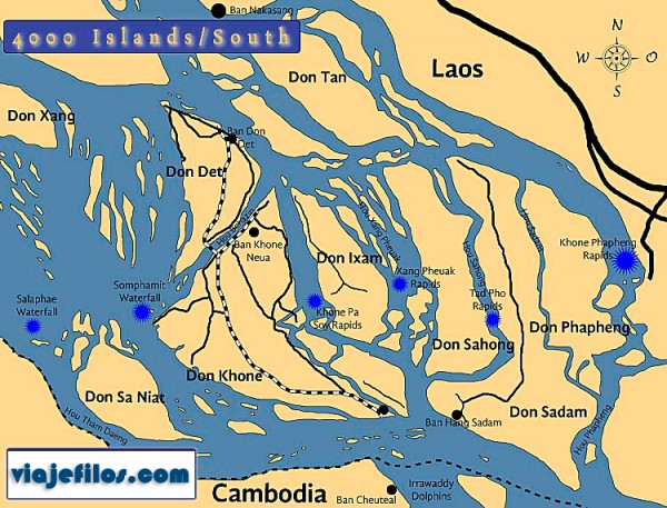Mapa de las 4000 islas de Laos