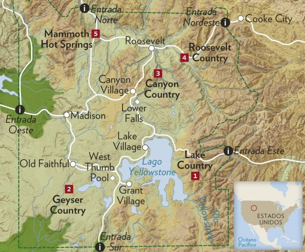 Mapa de Yellowstone
