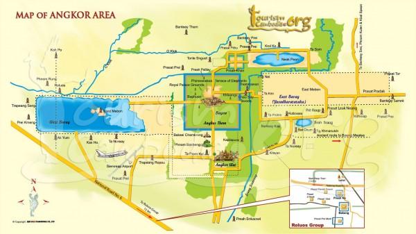 Mapa de los templos de Angkor