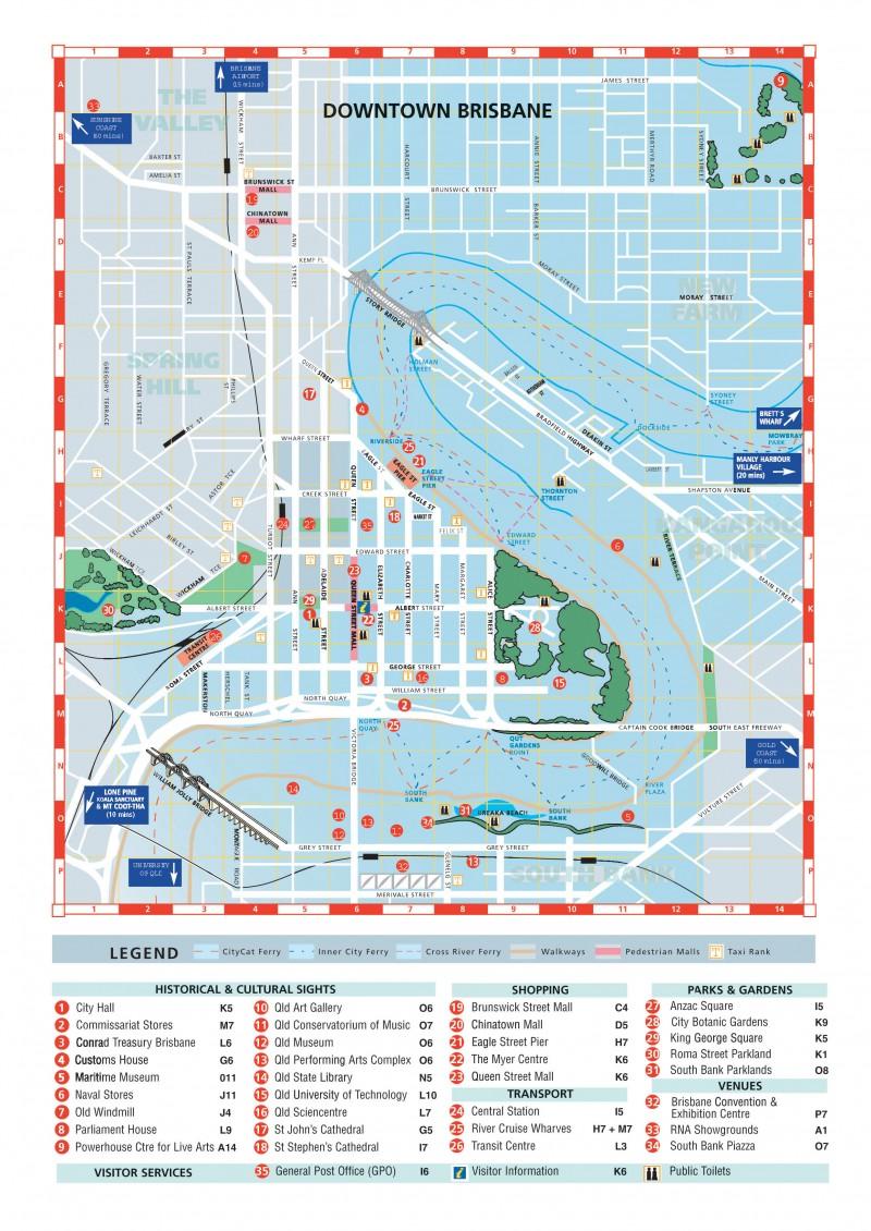 Mapa centro de Brisbane
