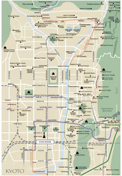 Mapa de los templos de Kioto