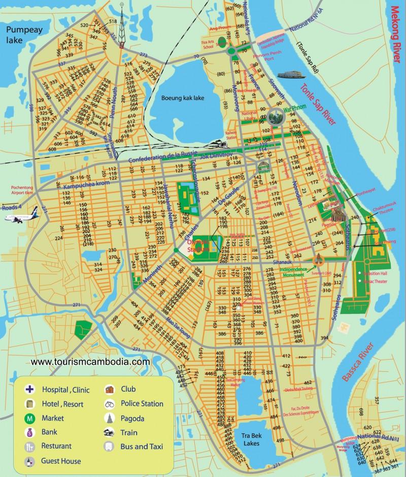 Mapa turístico de Phnom Pehn