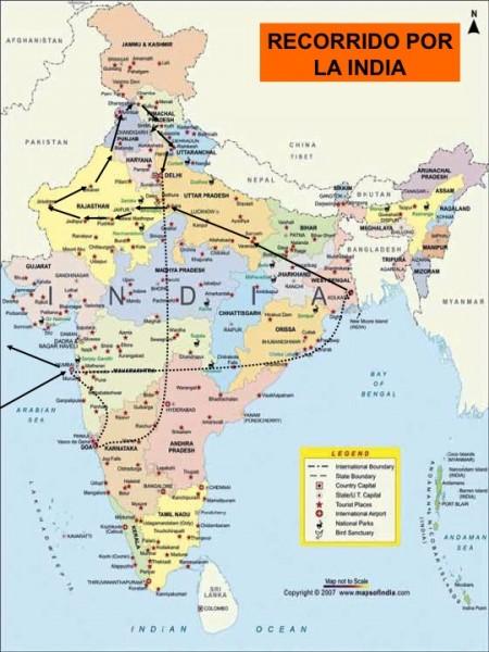 Mapa recorrido India