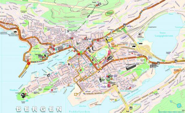 Mapa turismo Bergen