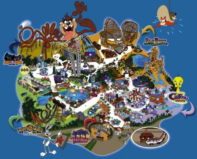 Mapa del parque Warner de Madrid
