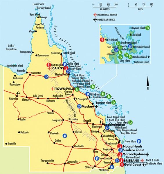 Mapa de la costa de Queensland