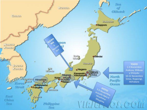 Recorrido de viaje de dos semanas en Japón