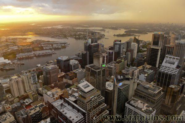 Vistas al atardecer desde la Tower Eye de Sydney